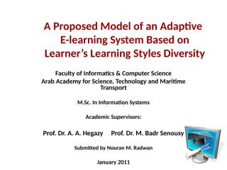 Thesis_ A model for an adaptive e-learning system based on learners' learning style diversity.ppt