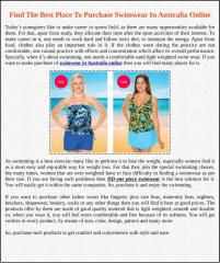 Find The Best Place To Purchase Swimwear In Australia Online.pdf