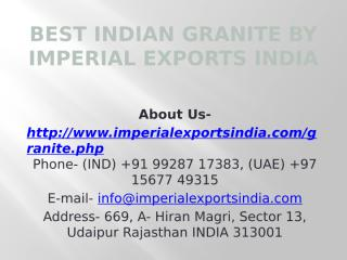 Best Indian Granite by Imperial Exports India.pptx