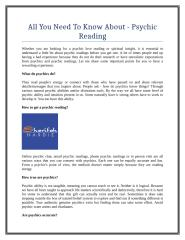 All You Need To Know About - Psychic Reading.doc